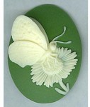 903q resin 40x30 green butterfly cameo