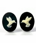 18x13mm Hummingbird matched pair of black cream Humming bird Resin Cameo  905x
