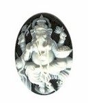 25x18mm Black Hindu Genisha Resin Cameo 907R
