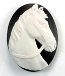 40x30mm Horse Head Resin Cabochon Cameo Black and Ivory Stallion 930q