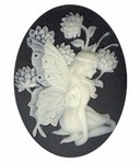 40x30mm Black Ivory Fairy Girl Resin Cameo 931q