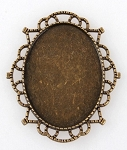 40x30mm Antique Bronze Cameo Setting Filigree Edged Cabochon Frame 941x