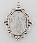 40x30mm Antique Silver Pendant Cabochon Setting Bali Style Cameo Setting 942x
