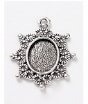 14x10mm Antique Silver Cabochon Pendant Setting Cameo Frame 943x
