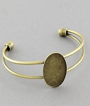 Antique Bronze Cuff Bracelet with 25x18mm Bezel Setting 951x