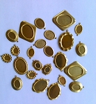 24pcs Clearance bulk lot Brass stamp Settings Pendant Backings Made in USA
