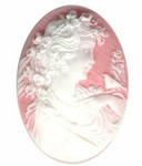 40x30mm Pink White Victorian Woman with Bird Resin Cameo 974R