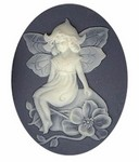 40x30mm Blue Ivory Fairy Woodland Nymph Resin Cameo 981q