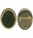 30x22mm Gold cabochon setting with pin 983R