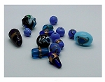 2+ oz Mixed Handmade Glass Beads blue aqua turquoise oval round cone shape 10-22mm 985x