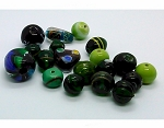 2+ oz Mixed Handmade Glass Beads lot shades of green 988x