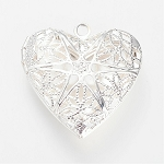 Silver Aromatherapy Locket 25mm filigree perfume heart locket 989q
