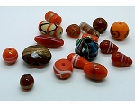 2+ ounces Mixed Handmade fancy red orange glass Beads 10-25mm 990x