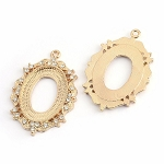 25x18mm Cabochon Gold Rhinestone Setting Open Back 994x
