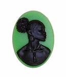 25x18mm Green Black African American Ethnic Resin Cameo 995x