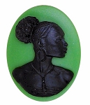 African American 40x30mm Cameo Ethnic Cameo Green Black 996x