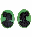 African American Cameo 18x13mm Matched Pair Green Black Resin Cameos 997x