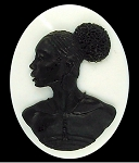 40x30mm African American Black Cameo on White Jewelry Supply 998xL