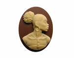 African American Black Woman Resin 25x18 Cameo Brown and Ivory 999x