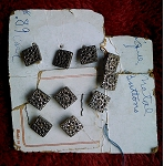 Set of 10 vintage buttons on original card 10mm square filigrees b519