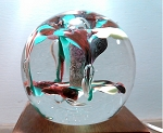 SOLD          Vintage Art Glass Paperweight Fountian with Controlled Bubbles