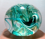 SOLD   Modern Art Glass Paperweight Studio Paperweight Green Abstract