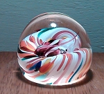 SOLD      Small Studio Art Glass Paperweight Swirl Design Signed A.H. 1998