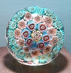 SOLD     Avem Vintage Murano Paperweight Italian Concentric Millefiori Art Glass