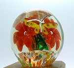1930's Vintage Chinese Paperweight Art Glass Butterflies over Flowers