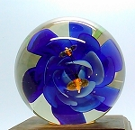 Vintage Paperweight Bees over Blue Crimped Rose