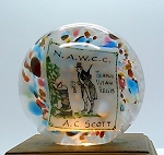 SOLD     Vintage Commemorative Plaque Art Glass Paperweight NAWCC