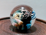 SOLD     Small Planet Paperweight Little World Studio Art Glass Paperweight