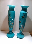 SOLD    Pair of Small Antique Victorian Bristol Vases Opaline Blown Glass