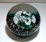 SOLD    Vintage Murano Paperweight Italian Flowers Art Glass