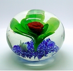 SOLD   Large Hand Blown Paperweight Rabbit under a Flower