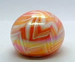 SOLD     Gibson Pulled Feather Orange Studio Paperweight