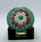 SOLD     Vintage Murano Paperweight Italian Concentric Millefiori Art Glass