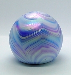 SOLD    Gibson Pulled Feather Iridescent Blue Studio Paperweight