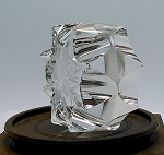 SOLD     Hoya Japanese Cut Glass Etched Snowflake Crystal Paperweight