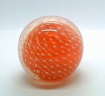 SOLD    Vintage Controlled Bubble Orange Hand Blown Paperweight