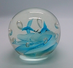 Vintage Blue Bird Paperweight Blown Art Glass