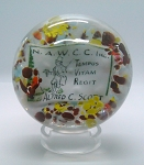 SOLD - Vintage Commemorative Plaque Art Glass Paperweight NAWCC