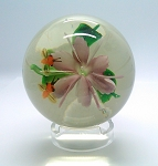 SOLD  Vintage China Hand Blown Paperweight Bees over Pink Flower