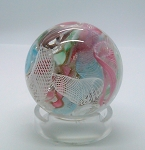 SOLD  Murano Latticino Scramble Paperweight with Label Fratelli Toso