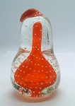 Vintage Norcrest Paperweight Art Glass Bullicante Controlled Bubble Red Pear