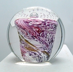 SOLD         Vintage Studio Paperweight Pink White Controled Bubble  G1097