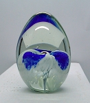 Blown Art Glass Signed Studio Paperweight Mount Saint Helen Egg