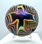 SOLD - Early Stephen Fellerman 1974 Pulled Feather Paperweight with iridescent Sheen
