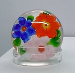 SOLD     Vintage Studio Glass Paperweight Chinese 3 Flower