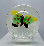 Vintage Paperweight Murano Butterfly Latticino Studio Art Glass